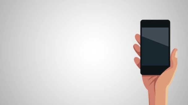 ruce s animací aplikace smartphone a menu
