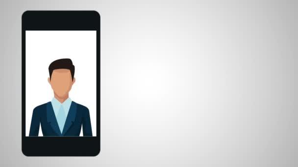podnikatel, pomocí smartphone animace