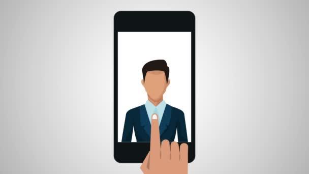 használ smartphone apps menüanimációt üzletember