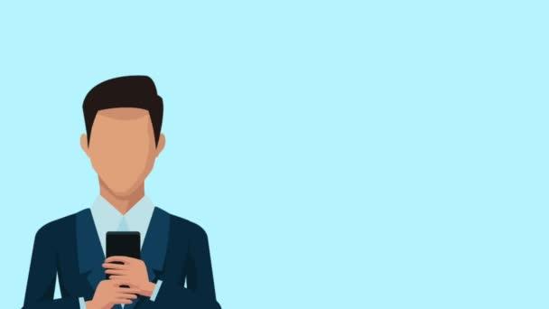 üzletember smartphone és apps animáció segítségével