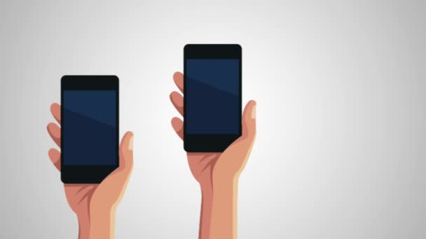 rukou uživatelů smartphone s menu aplikace animace