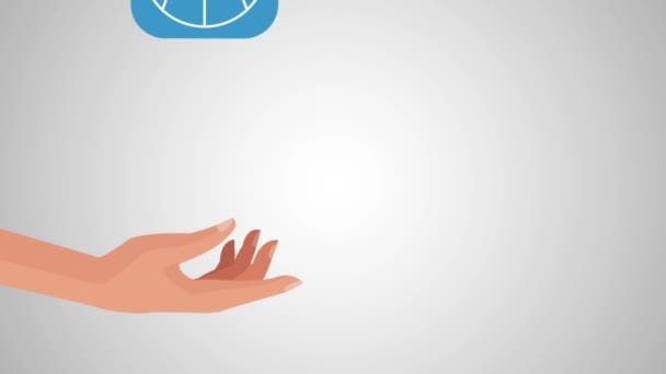 die Hand des Benutzers mit Regen von bestimmten Anwendungen Menü Animationen