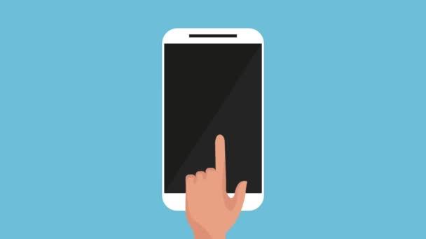 Hand Benutzer Smartphone mit Zahnrädern Einstellungen animation