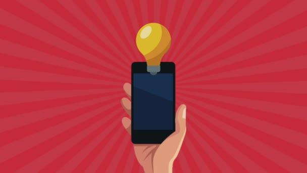 Hand mit Smartphone-Gerät mit Birne