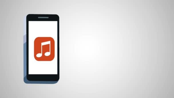 smartphone s animací aplikace Hudba