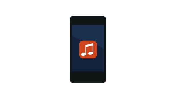 smartphone s hudební aplikace a deště poznámky animace