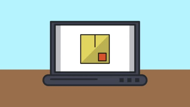 přenosný počítač s boxy dodání služby animace