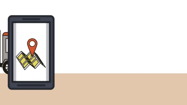 Smartphone-val megjelenítése szállítási szolgáltatás animáció