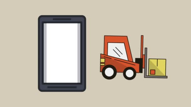 smartphone s vozidla dodávky služeb animace