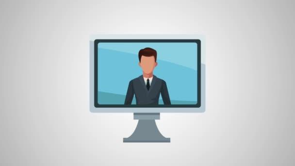 počítač s avatar animace podnikatel a statistiky