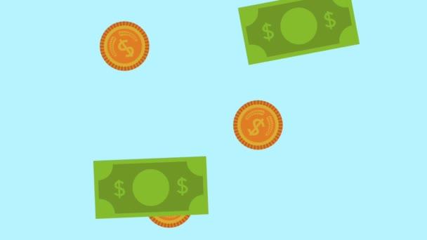 bankovky a mince déšť peníze animace