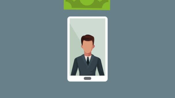 smartphone s podnikatel déšť peníze animace