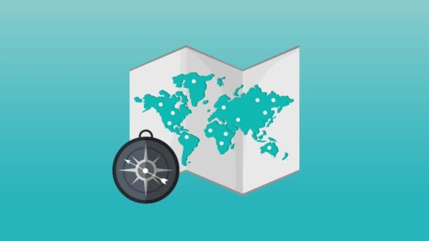 World map and compass HD definition