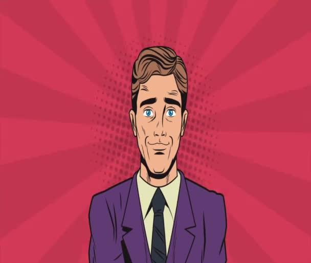 Pop art businessmens cartoons HD animation