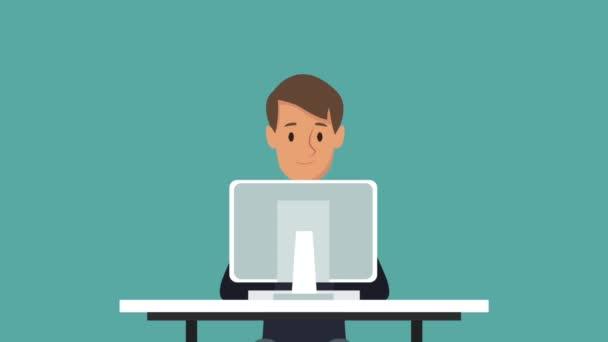 Businessman At Office Cartoon Hd Animation Stock Video C Jemastock