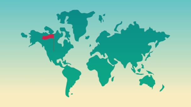 World map with red flags HD animation