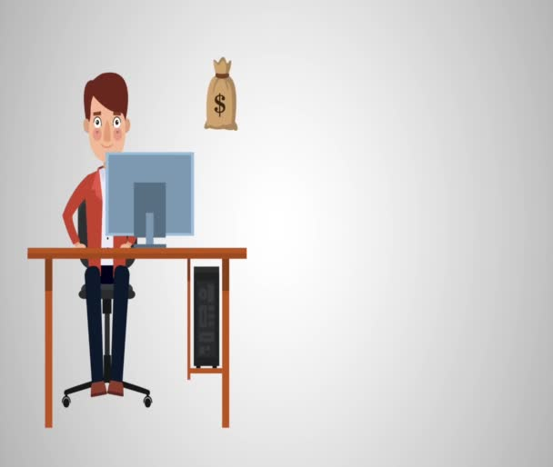 Young businessman in computer HD animation