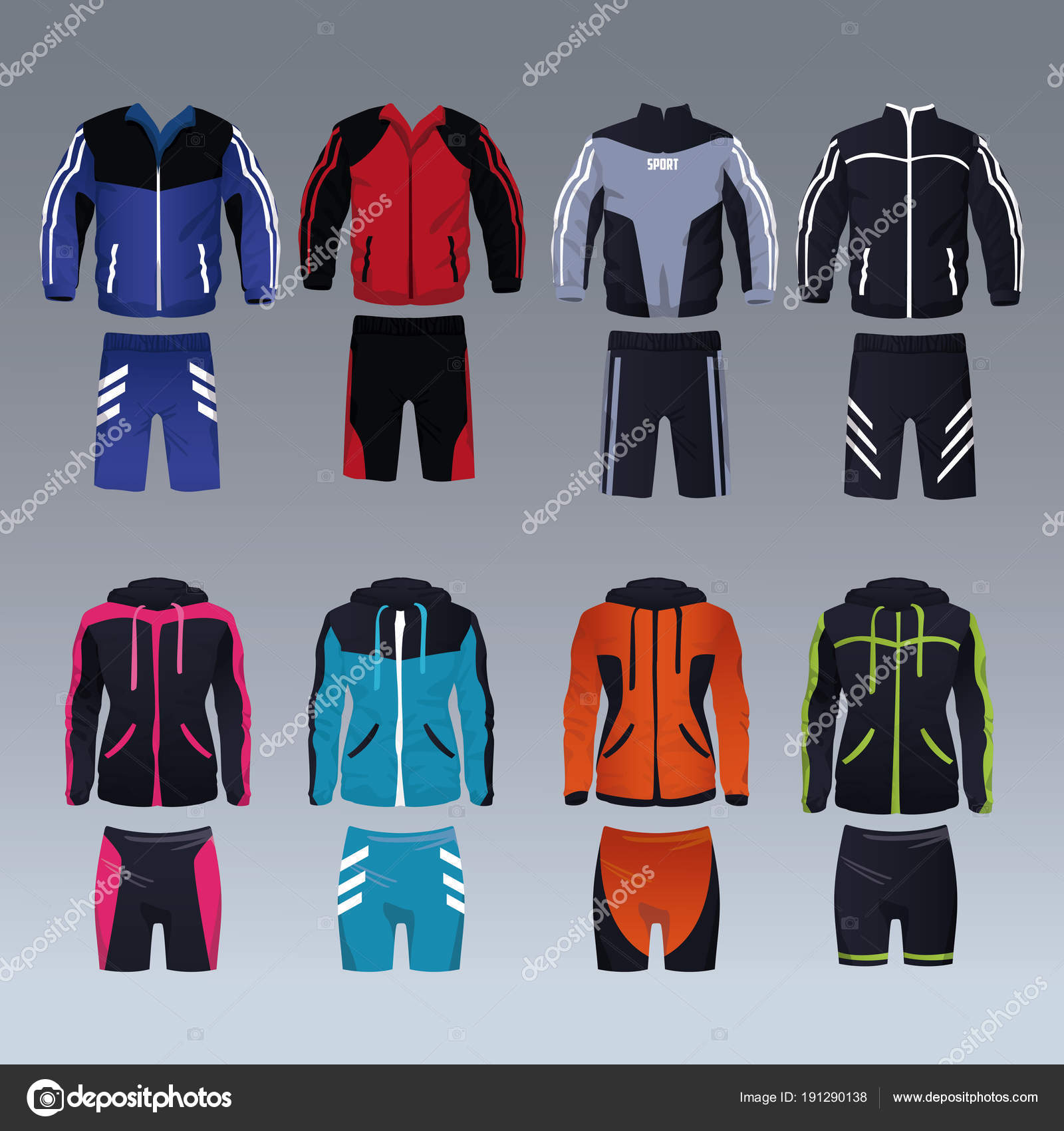Conjunto de ropa de deporte de masculina y femenina colección vector  ilustración gráfica diseño - fotos  descargar ropa deportiva para mujer —  Vector de ... fb4b267f5301f