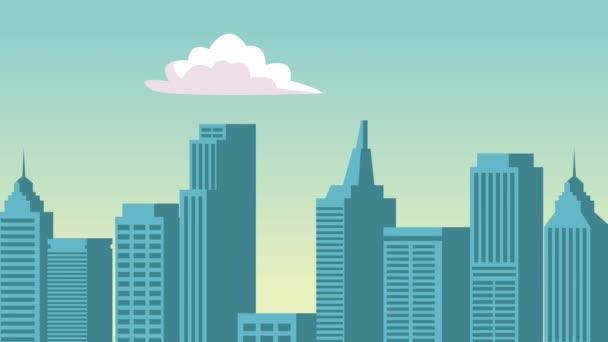 Panoráma města s obláčky Hd animaci