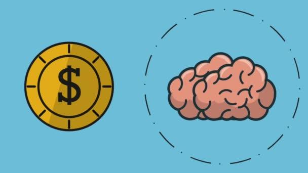Emberi agy szimbólumok Hd animáció