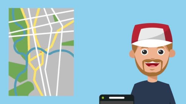 Mladý muž pomocí Taxi aplikace Hd animace