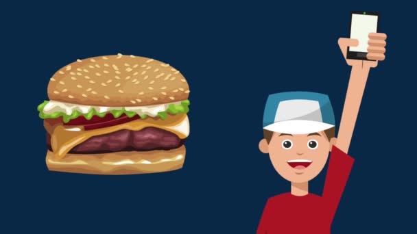 Rychlé občerstvení objednat online z smartphone Hd animaci