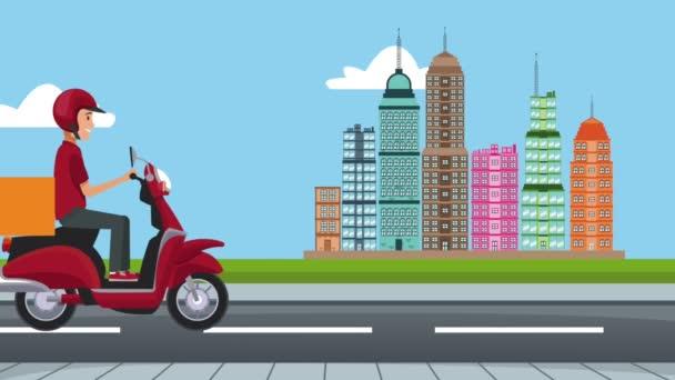Fast food dodání online na skútru Hd animaci