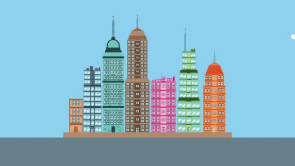 Městské budovy jeví z dolů animace, Hd