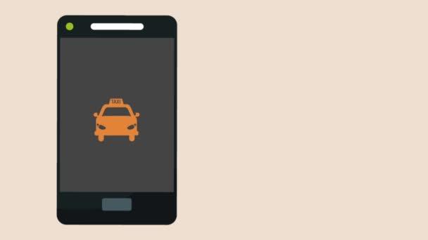 Taxi aplikace ze smartphone Hd animaci