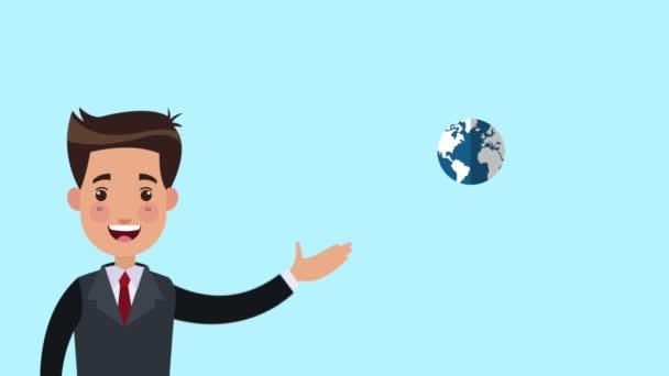 Geschäftsmann zeigt Menschen auf der ganzen Welt Animationen