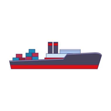 cargo ship icon, flat design