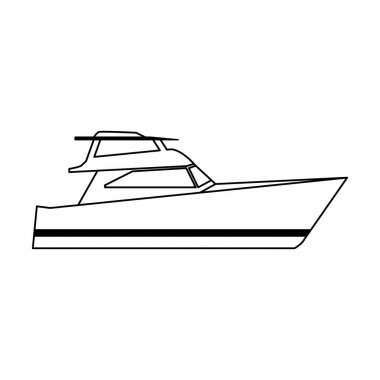 cruiser boat icon, flat design