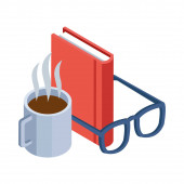 coffee mug, glasses and book