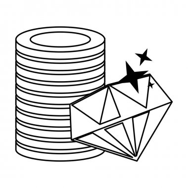 Gold coins and luxury diamond symbols in black and white