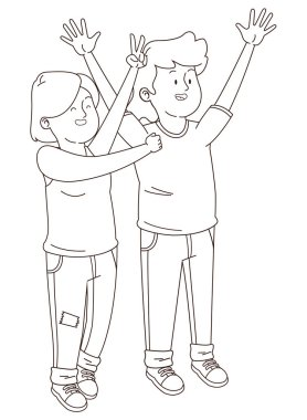 Teenagers friends smiling and having fun cartoon in black and white
