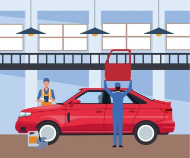 car repair shop scenery with red car and mechanics working on