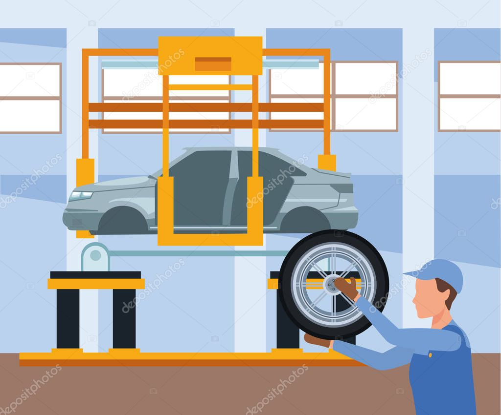 Car Repair Shop Scenery With Mechanic Holding A Car Tire And Car Lifted Colorful Design Vector Illustration Premium Vector In Adobe Illustrator Ai Ai Format Encapsulated Postscript Eps Eps Format