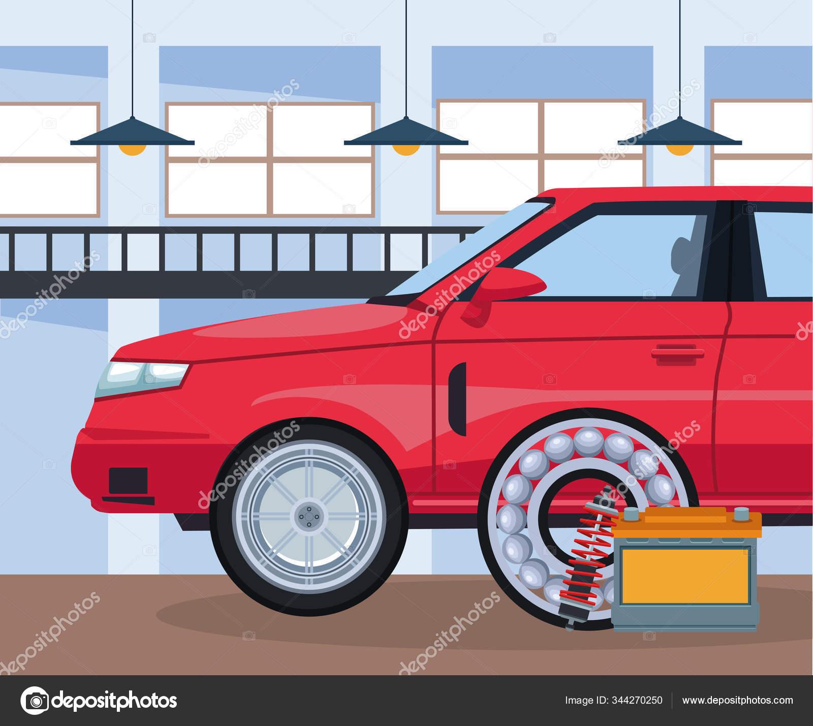 Oficina De Reparacao Automovel Com Carro Vermelho E Bateria E Disco De Freio Vetores De Stock C Jemastock 344270250