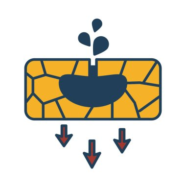 oil extraction ground with arrows down fill style icon