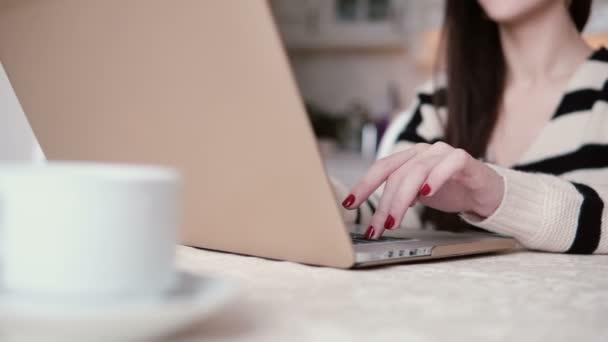 krásná mladá brunetka žena používá notebook v světlé jídelně. jezdec doprava