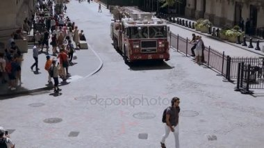 NEW YORK, USA, 18.08.2017 Busy crowded downtown. Emergency service, fire car or vehicle riding through the street.