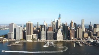 Aerial view of the Manhattan district on the shore of the East river in New York, America in sunny day.