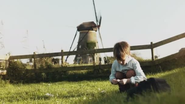 Málo bělochů chlapce hrát poblíž rustikální větrný mlýn. Šťastné dítě sbírat květiny v obci scenérie. Klid. 4k
