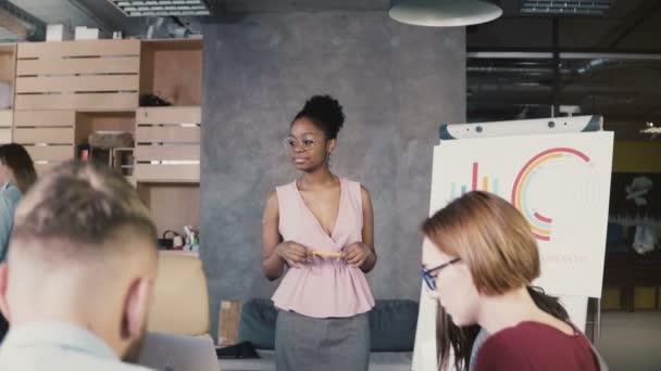 Weibliche Teamleiter motiviert Mitarbeiter arbeiten. Junge glücklich erfolgreiche Geschäftsfrau, die führende Office-Team treffen 4k
