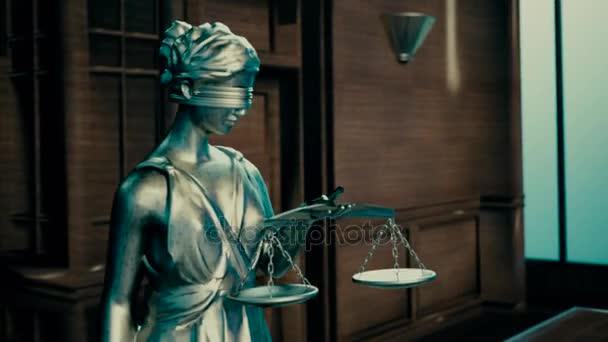 the attributes of the court statue of justice and judges gavel on the table