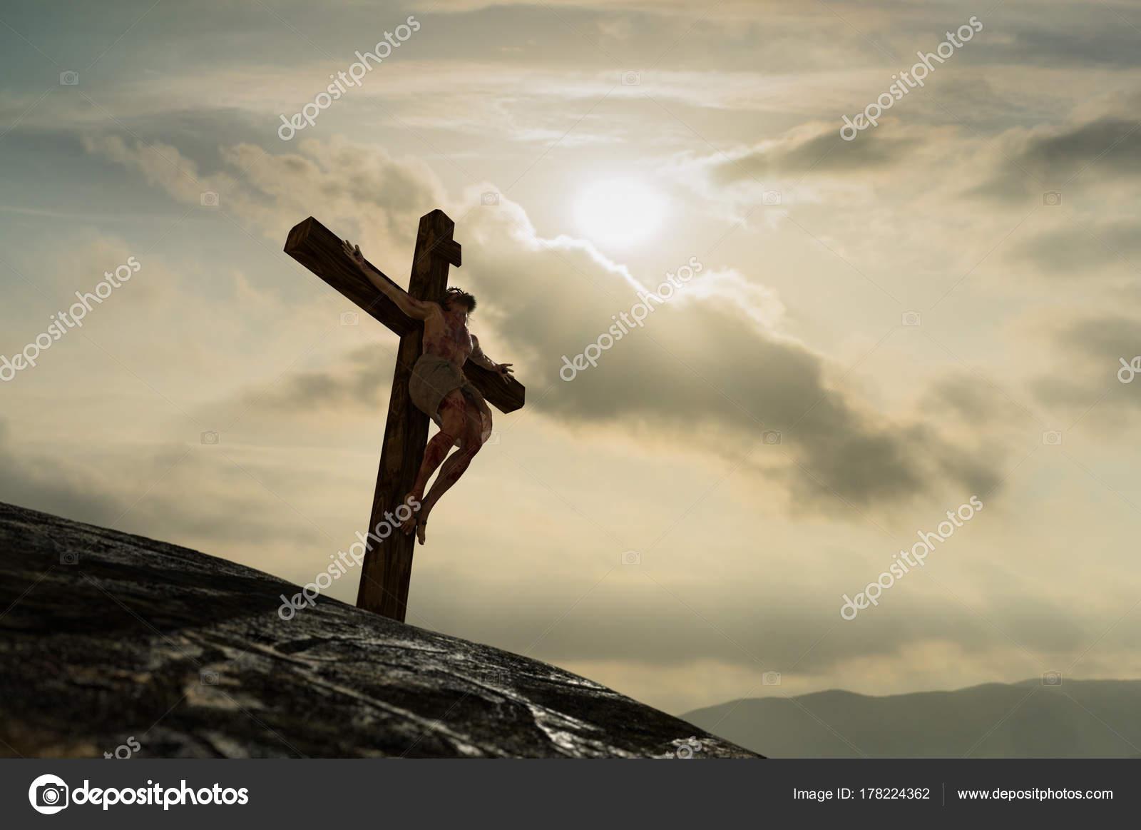 Imágenes Jesucristo En La Cruz Del Calvario Ilustración