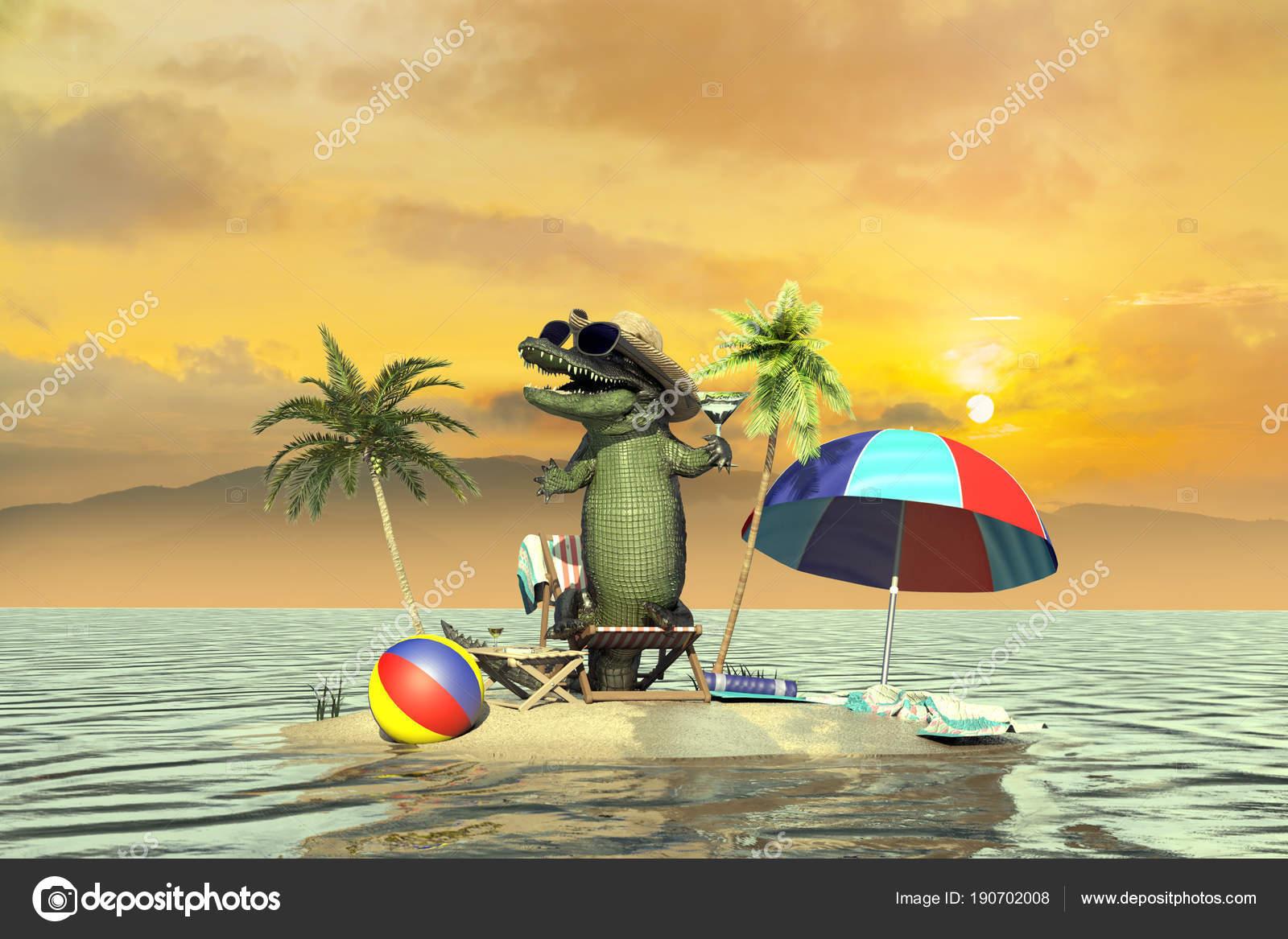 Illustration Funny Crocodile Resting Resort Beach Stock Photo C Denissmile 190702008