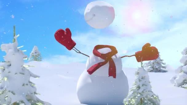 Vánoce zimní pozadí se sněhulák a sníh. Veselé Vánoce a šťastný nový rok s copy-space 3d vykreslení