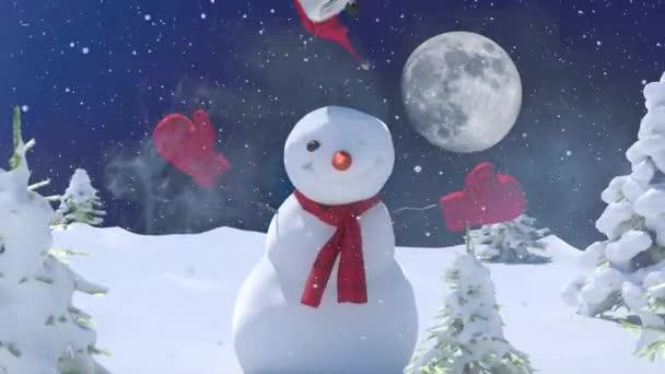 Karácsonyi téli háttér hóember és hó. Boldog karácsonyt és boldog új évet a másoló tér 3d render