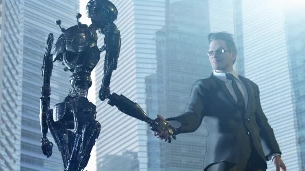a businessman and a robot shaking hands. Concept of innovation in business,3d rendering